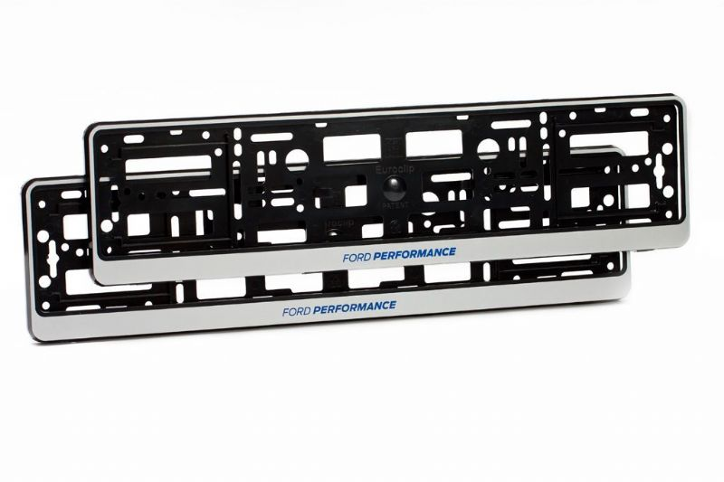 2 x Ford Performance Number Plate Holder Surround Mounting | Silver